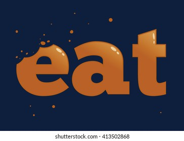 Vector stock of eat word typography with bite mark