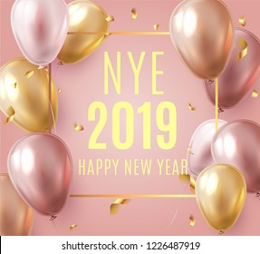 Vector stock elegant pink balloon party happy new year celebration festival background. NYE 2019 confetti greeting background with helium shine gold and pink balloon. Rich, VIP, luxury.