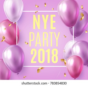 Vector stock elegant purple violet balloon party happy new year celebration festival background. NYE 2018 confetti greeting background with helium shine gold and pink balloon. Rich, VIP, luxury.