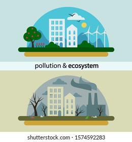 Vector stock environmental illustration. Ecology cartoon comparative concept with clean planet because of use alternative energy sources and dirty earth due to industrial environmental pollution.
