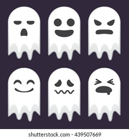 Vector stock of funny ghosts with various face expressions, halloween icons and background