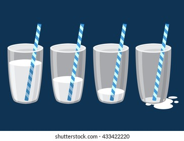 Vector stock of glass of milk with straw in different drinking stages