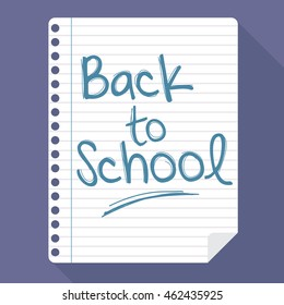 Vector stock of hand written back to school text on a paper note