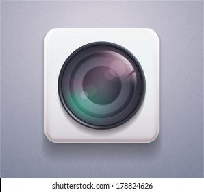 Vector stock Icon camera lens. Realistic Plastic button 3d for photo studio, instagram, site element, printed material, sign, element, web site, card, application, game, desktop, laptop, iphone screen