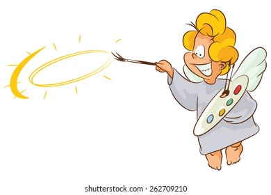 Vector stock illustration. Angel draws divine halo. Can be used on another character.