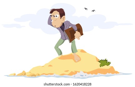 Vector. Stock illustration. Businessman on desert island.