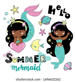 Vector stock illustration collection with a little girl afro american mermaid on a white background. Greeting card for girls. Summer concept. Marine inhabitants for Birthday