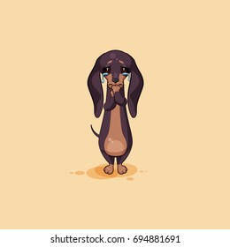 Vector stock illustration emoji of cartoon character dog talisman, phylactery hound, mascot pooch, bowwow dachshund sticker emoticon German badger-dog sad with tears in his eyes emotion design element