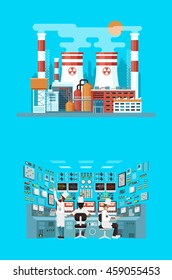 Vector Stock illustration of facade architecture nuclear power plant in flat style, power generation, interior science base, technical equipment, scientists, workers NPP