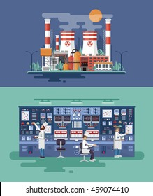 Vector Stock illustration of facade architecture nuclear power plant in flat style, generation, interior science base, technical equipment, scientists, workers NPP