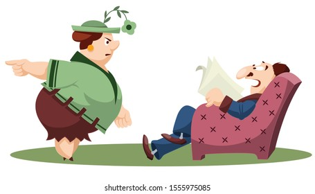 Vector. Stock illustration. Funny little people. Wife scolds lazy husband.