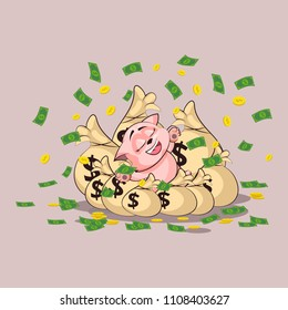 Vector Stock Illustration isolated Emoji character cartoon wealth riches cat tomcat kitten kitty sticker emoticon lies happy on bags of money celebrates profits dollars earnings income salary design
