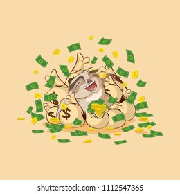 Vector Stock Illustration isolated Emoji character cartoon wealth riches owl sticker emoticon lies happy on bags of money celebrates profits dollars earnings income salary for site infographic video