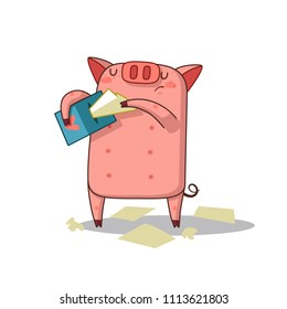 Vector Stock Illustration isolated Emoji character cartoon Pig crying