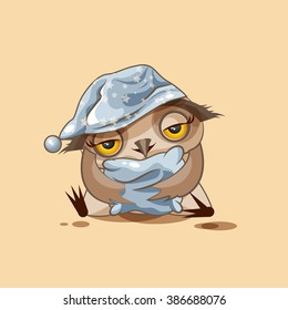 Vector Stock Illustration isolated Emoji character cartoon sleepy owl in nightcap with pillow sticker emoticon for site, infographics, video, animation, websites, e-mails, newsletters, reports, comics