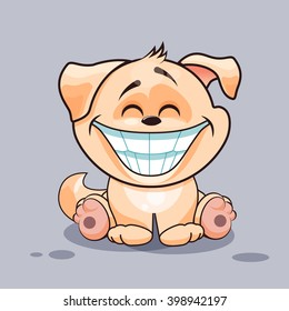 Vector Stock Illustration isolated Emoji character cartoon dog with a huge smile from ears
