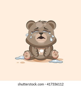 Vector Stock Illustration isolated Emoji character cartoon Bear crying, lot of tears sticker emoticon for site, info graphic, video, animation, websites, e-mails, newsletters, reports, comics