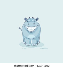Vector Stock Illustration isolated Emoji character cartoon Hippopotamus with a big huge smile from ears sticker emoticon for site, info graphic, video, animation, website, mail, newsletter, report