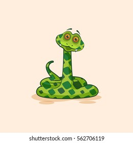 Vector Stock Illustration isolated Emoji character cartoon Snake surprised with big eyes sticker emoticon for site, info graphics, video, animation, websites, mail, newsletters, reports, comic