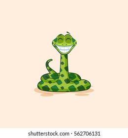 Vector Stock Illustration isolated Emoji character cartoon Snake with a huge smile from ear to ear sticker emoticon for site, info graphic, video, animation, website, mail, newsletter, report, comic