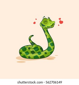 Vector Stock Illustration isolated Emoji character cartoon Snake in love flying with hearts sticker emoticon for site, info graphics, video, animation, websites, mail, newsletter, report, comic