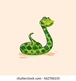 Vector Stock Illustration isolated Emoji character cartoon Snake squints looks suspiciously popinjay sticker emoticon for site, infographic, video, animation, website, mail, newsletter, report, comic