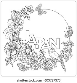 Vector stock illustration with Japanese peony and wild roses and bird and butterfly, word Japan and with place for text. Outline drawing coloring page. Coloring book for adult.