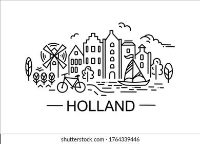 Vector stock illustration in line art style, linear drawings silhouettes of salient features, sights of Holland. For prints on objects, fabrics, clothes, bags.
