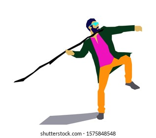 Vector stock illustration of man with the spear. Bright colorful art in cartoon style. Sport people in motion pose, boy with lance, pikeman, raised led.