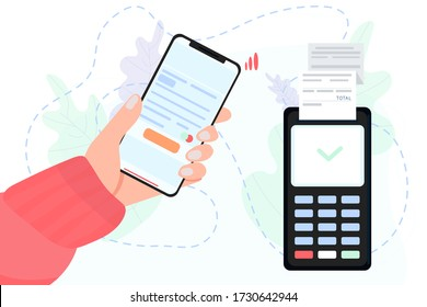 Vector stock illustration of mobile payment via smartphone. Hand holds mobile phone to do contactless payment and POS terminal. Concept illustration in flat style for smart wallet.
