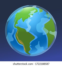 Vector stock illustration Simple globe atmosphere and continents. General view of the earth for any design and animation.