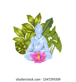 Vector stock illustration of sitting Buddha statue with lotus and tropical leaves on the background. Logo isolated on white. Realistic hand drawn print for cards, posters, souvenirs.
