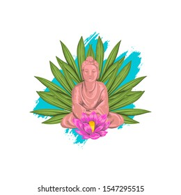 Vector stock illustration of sitting pink Buddha in lotus pose, colorful brushstroke and palm leaves on the background. Realistic hand drawn logo for cards, posters, souvenirs. Isolated on white