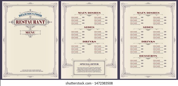 Vector stock illustration. Template cafe or restaurant menu.