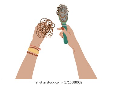 Vector stock illustration with woman hands.In one hand girl holds a mat of hair and in the other hand she has a hair brush. Cartoon style concept of hair loss or alopecia.