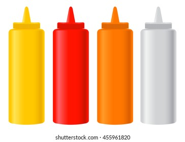 Vector stock of ketchup, mustard, chili, mayonnaise condiment bottles set