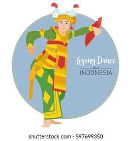 Vector stock of Legong Dance, The Balinese traditional dance origin Indonesia