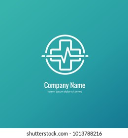Vector stock logo, abstract medical vector template. Illustration design of business logotype clinic. Vector people and cross web icon.