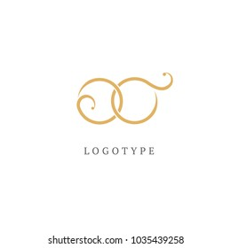 Vector stock logo, abstract monogram vector template.  Illustration design of elegant, premium and royal logotype latter o and c. Vector icon of wedding.