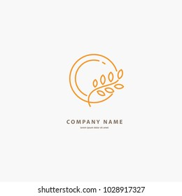 Vector stock logo, abstract natural, healthy, bio food vector template. Illustration design of elegant line curve logotype bakery. Vector icon grain wheat on plate.
