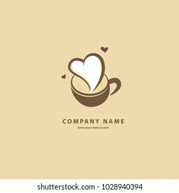 Vector stock logo, abstract sign of cafe, vector template of cafeteria and bistro. Illustration design of silhouette brown logotype coffee. Vector icon cup with drink.