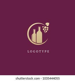 Vector stock logo, abstract wine vector template. Illustration design of elegant logotype wine store on a dark claret background. Vector icon for restaurant menu.