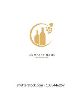 Vector stock logo, abstract wine vector template. Illustration design of elegant logotype wine store. Vector icon for restaurant menu.