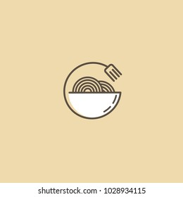 Vector stock logo, abstract wok vector template. Illustration design of monoline, minimalistic, simple logotype chinese restaurant. Vector icon plate with noodles.