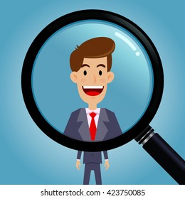 Vector stock of magnifying glass zooming on a  businessman