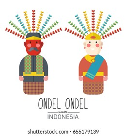 Vector stock of ondel ondel,  The traditional puppets origin Jakarta Indonesia. Flat Illustration style.