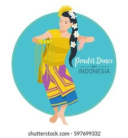 Vector stock of Pendet Dance, The Balinese traditional dance origin Indonesia