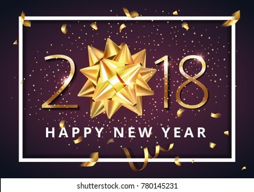 Vector stock premium luxury 2018 Happy New Year background with beautiful golden gift bow, confetti and Christmas elements