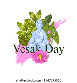 """Vector stock print """"Vesak day"""" with blue sitting Buddha, lotus flower, colorful brushstroke and green leaves. Realistic hand drawn poster for greeting cards, logos, souvenirs. Isolated on white"""