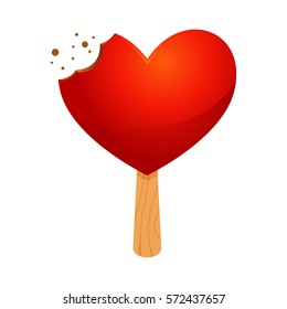 Vector stock of a read heart shaped ice cream with bite mark on a stick